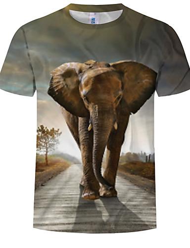 preiswerte Herrenmode-Herrn 3D / Tier EU- / US-Größe T-shirt, Rundhalsausschnitt Regenbogen