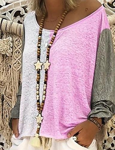 billige Dametopper-Tynn Store størrelser T-skjorte Dame - Fargeblokk Rosa / Vår / Sommer / Høst / Vinter