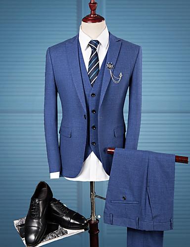 voordelige Herenblazers & kostuums-Heren Grote maten Pakken, Effen Overhemdkraag Polyester Donkergrijs / Marine Blauw / Slank