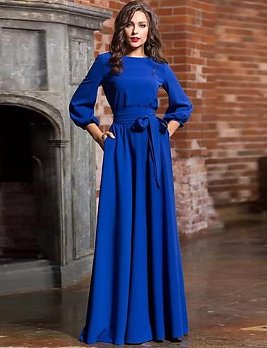 levne Maxi šaty-Dámské Základní Pouzdro Šaty - Jednobarevné, Mašle Šněrování Maxi