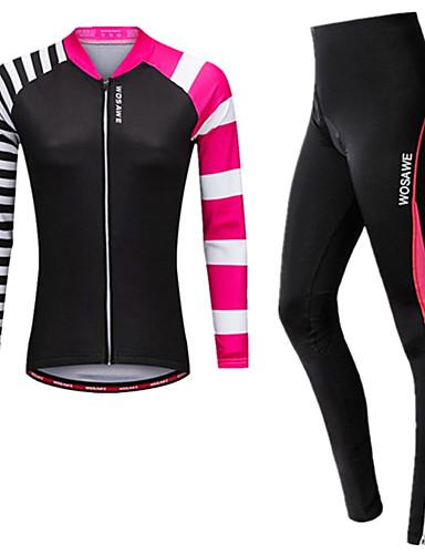 povoljno Odjeća za vožnju biciklom-WOSAWE Žene Dugih rukava Biciklistička majica s tajicama Fuksija Veći konfekcijski brojevi Bicikl Biciklistička majica Biciklizam Hulahopke Pad 3D Reflektirajuće trake Povratak džep Sportski Spandex