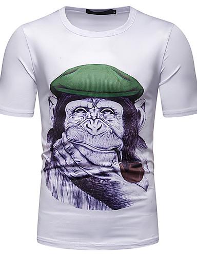 voordelige Heren T-shirts & tanktops-Heren Patchwork / Print EU / VS maat - T-shirt Katoen Grafisch / dier Ronde hals Wit L