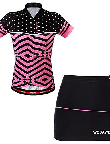 povoljno Odjeća za vožnju biciklom-WOSAWE Žene Kratkih rukava Biciklistička Jersey s suknjom Fuksija Bicikl Haljine Biciklistička majica Podstavljene kratke hlače Prozračnost Ovlaživanje Quick dry Reflektirajuće trake Sportski Elastan
