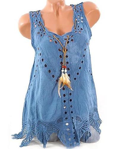 billige Dametopper-Bomull Tynn V-hals Store størrelser T-skjorte Dame - Ensfarget, Utskjæring Elegant Rosa