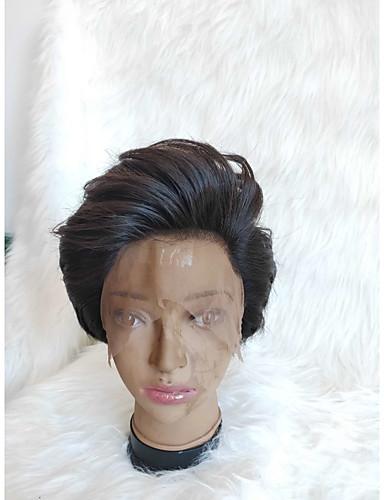 povoljno Perike s ljudskom kosom-Ljudska kosa Full Lace Perika Pixie frizura stil Brazilska kosa Kovrčav Crna Perika 130% Gustoća kose Žene Žene Kratko Others Clytie