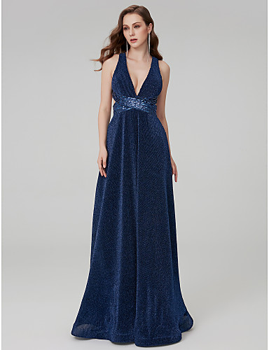 cheap Clearance-A-Line Elegant Formal Evening Dress Plunging Neck Sleeveless Floor Length Sequined Jersey with Sequin 2020