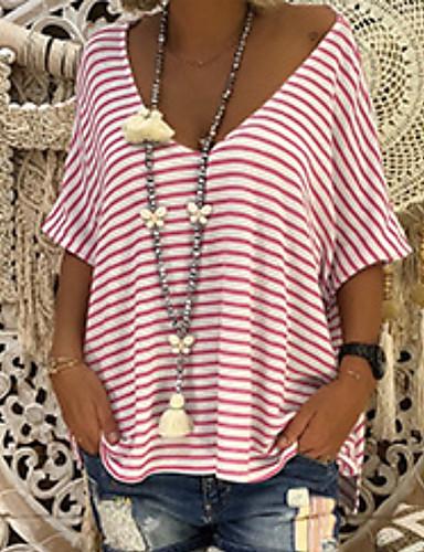 billige Dametopper-V-hals Store størrelser T-skjorte Dame - Stripet, Stripe Grunnleggende Blå XXXL / Vår / Sommer / Høst / Vinter