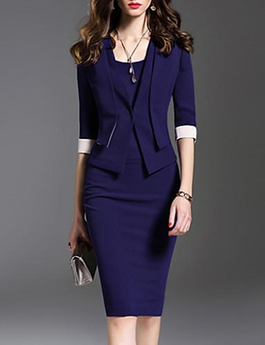 levne Pracovní šaty-dámské midi bodycon šaty fialové modré královské modré s m l xl