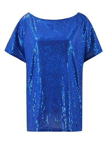 billige Dametopper-Løse skuldre T-skjorte Dame - Ensfarget, Paljetter Svart