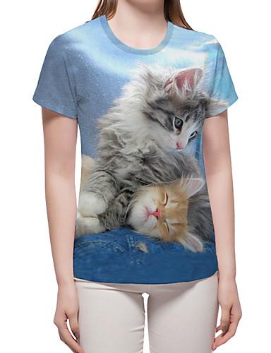 billige Dametopper-T-skjorte Dame - Fargeblokk / 3D / Dyr, Trykt mønster Grunnleggende / overdrevet Lyseblå