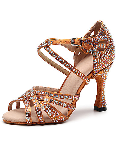 cheap 11.11 - ✨Princess's Diamond Dancing Shoes-Women's Dance Shoes Silk Latin Shoes Crystal / Rhinestone Heel Slim High Heel Customizable Black / Brown / Performance