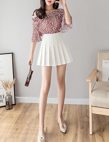 preiswerte Ein Retro - Rock-Damen Aktiv Mini A-Linie Röcke - Solide Gefaltet Schwarz Rosa Grau L XL XXL