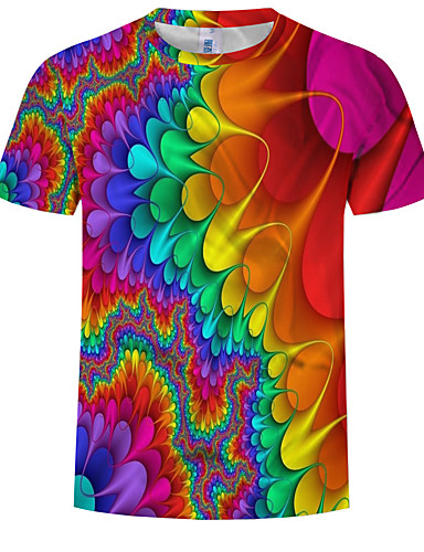 cheap Men's Tees & Tank Tops-Men's T-shirt Abstract Graphic Print Tops Round Neck Rainbow