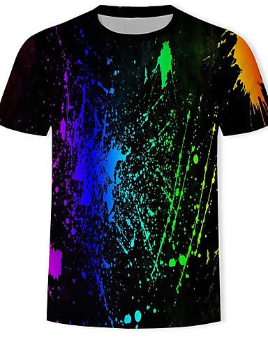 voordelige Herenbovenkleding-Heren Print T-shirt Geometrisch / 3D / Regenboog Zwart