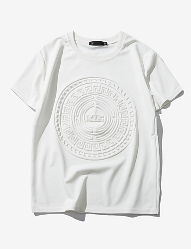 levne Pánská tílka-Pánské - Jednobarevné / Geometrický / Grafika Tričko, Tisk Kulatý Štíhlý Bílá