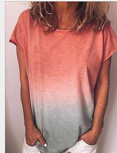 billige T-skjorter til damer-Tynn Store størrelser T-skjorte Dame - Fargeblokk Gul