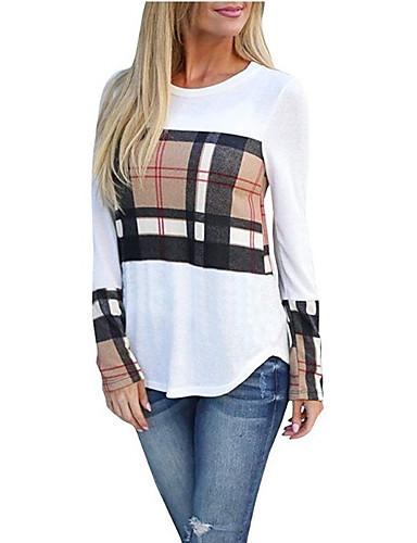 billige Dametopper-T-skjorte Dame - Geometrisk, Lapper / Trykt mønster Grunnleggende / Punk & Gotisk Hvit
