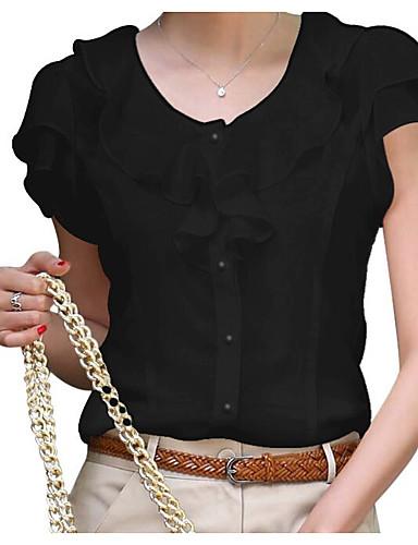 billige Dametopper-Store størrelser Bluse Dame - Ensfarget Hvit