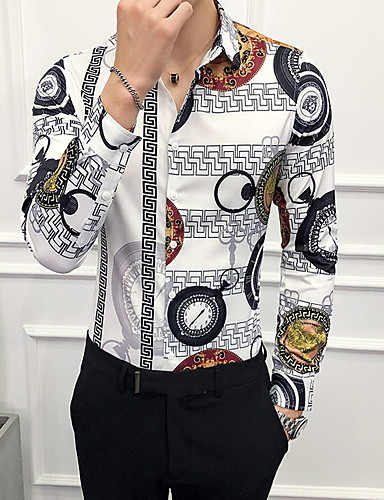 levne Pánské košile-Pánské - Geometrický EU / US velikost Košile, Tisk Bílá / Dlouhý rukáv