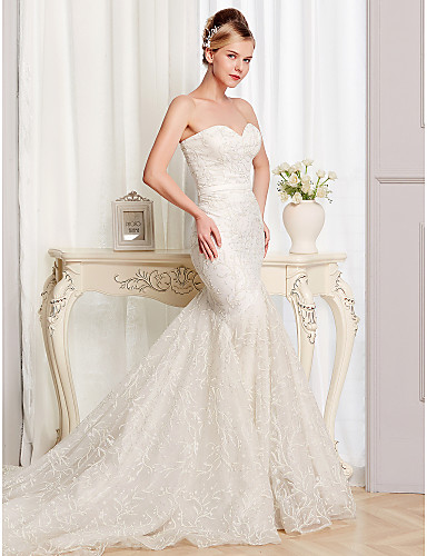 cheap Wedding Dresses-Mermaid / Trumpet Strapless Court Train Lace / Tulle Sleeveless Sexy Wedding Dresses with Lace 2020