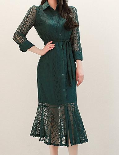 Жен. Элегантный стиль Оболочка Платье - Однотонный, Кружева Средней длины