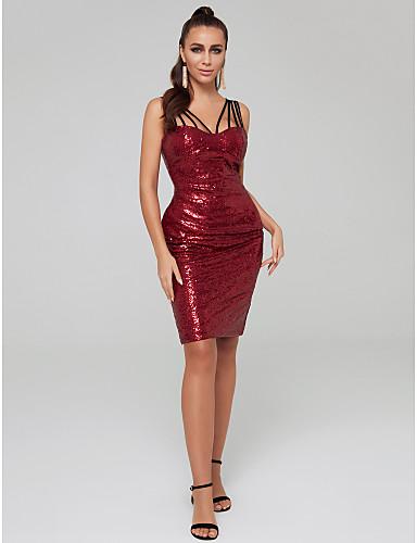 preiswerte Bodycon Kleider-Eng anliegend Spaghetti-Träger Tee-Länge Pailletten Cocktailparty Kleid mit Paillette durch TS Couture®