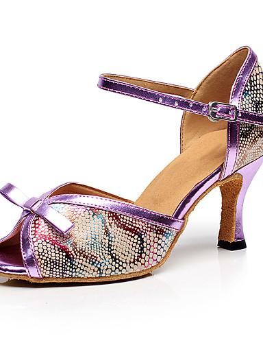 billige Shoes & Bags Must-have-Dame Dansesko Fuskelær Sko til latindans Høye hæler Kubansk hæl Kan spesialtilpasses Svart / Mørk Lilla / Blå / Ytelse / Lær / Trening