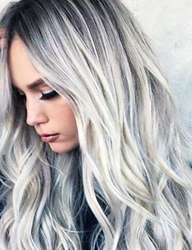 preiswerte Lolita Perücken-Synthetische Perücken Wellen Asymmetrischer Haarschnitt Perücke Mittlerer Länge Grau Synthetische Haare 26 Zoll Damen Party Dunkelgrau