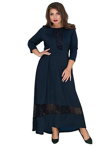levne Maxi šaty-Dámské Základní Elegantní Swing Šaty - Jednobarevné, Síťka Patchwork Maxi
