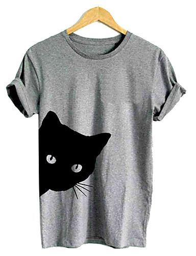 billige Dametopper-Løstsittende Løse skuldre T-skjorte Dame - Ensfarget, Utskjæring / Trykt mønster Hvit
