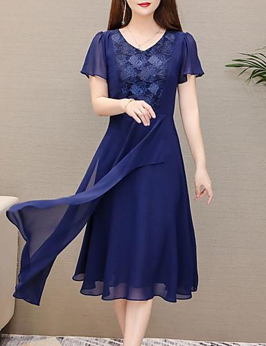 preiswerte Damenbekleidung-Damen Grundlegend Schlank Chiffon Kleid - Patchwork, Solide Midi V-Ausschnitt