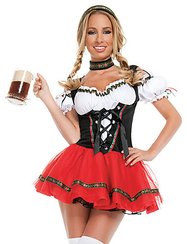billige Halloween- og karnevalkostymer-Oktoberfest Dirndl Trachtenkleider Dame Kjole bayerske Kostume Svart