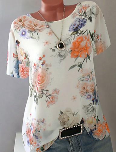 billige T-skjorter til damer-Tynn Store størrelser T-skjorte Dame - Geometrisk Lilla