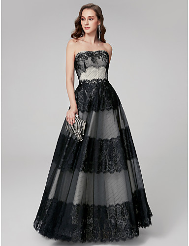 cheap Special Occasion Dresses-A-Line Elegant Formal Evening Dress Strapless Sleeveless Floor Length Lace with Lace Insert 2020