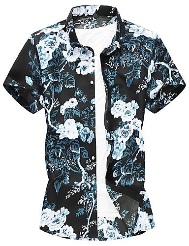 levne Pánské košile-Pánské - Grafika Větší velikosti Košile Stojáček Vodní modrá