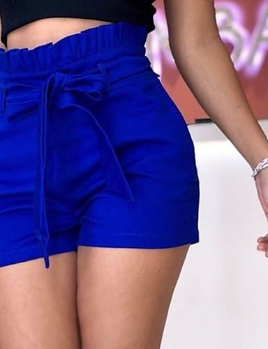 billige Tights til damer-Dame Grunnleggende Store størrelser Shorts Bukser - Ensfarget Sløyfe / Drapering Høy Midje Lin Blå Rød Gul XXXL XXXXL XXXXXL
