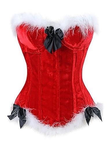 preiswerte Sexy Weihnachten-Damen Schnüren Brustkorsett - Patchwork, Geblühmter Style Rote S M L / Super Sexy