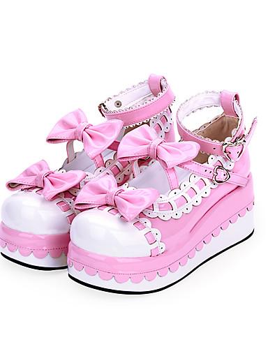 halpa Lolita-muoti-Naisten Kengät Sweet Lolita Prinsessa Lolita Kiilakantapää Kengät Color Block 7 cm Musta Sininen Vaaleanpunainen PU-nahka Halloween-puvut