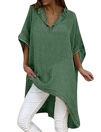 billige T-skjorter til damer-Løstsittende V-hals T-skjorte Dame - Ensfarget Svart