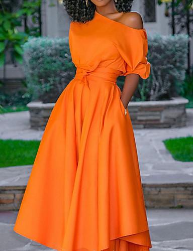 женское платье макси-свинг на одно плечо оранжевый м л х л ххл