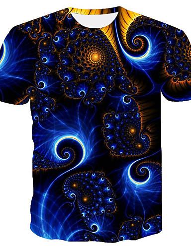 preiswerte Beach Lover-Herrn Galaxis / 3D Übergrössen T-shirt, Rundhalsausschnitt Druck Regenbogen