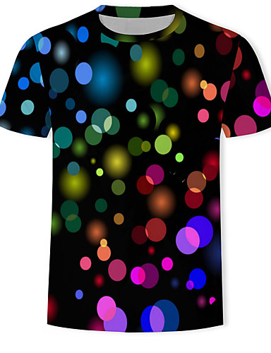 voordelige Herenbovenkleding-Heren Print T-shirt 3D / Regenboog / Grafisch Zwart
