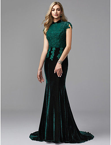 5da638f0aa53 Mermaid / Trumpet High Neck Court Train Lace / Velvet Sparkle & Shine  Formal Evening Dress with Beading by TS Couture® 6662129 2019 – $279.99