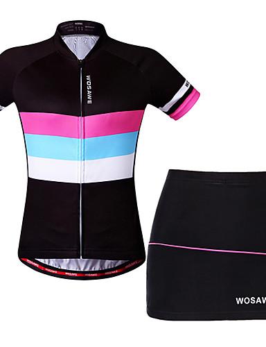povoljno Odjeća za vožnju biciklom-WOSAWE Žene Kratkih rukava Biciklistička majica s kratkim hlačama Crn Bicikl Haljine Biciklistička majica Podstavljene kratke hlače Prozračnost Ovlaživanje Quick dry Reflektirajuće trake Sportski