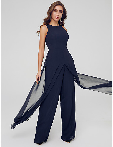 cheap Special Occasion Dresses-Jumpsuits Elegant Wedding Guest Formal Evening Dress Jewel Neck Sleeveless Floor Length Chiffon with Draping Split 2020