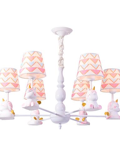 preiswerte ChristmasEarlyBird2019-6 Lichter Kronleuchter / schöne Pendelleuchten weiß lackiert für Wohnzimmer Kinderzimmer Kinderzimmer Schlafzimmer 110-120V / 220-240 / E26 E27 ohne Glühbirne