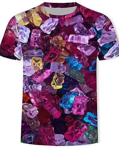 voordelige Herenbovenkleding-Heren Print T-shirt Geometrisch / 3D / Grafisch Paars