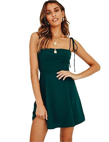 c9d917809 Mulheres Moda de Rua Elegante Evasê Rodado Vestido - Frente Única Cordões,  Sólido Longo de 7320025 2019 por $17.99