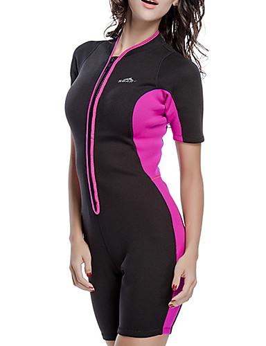 povoljno ljetni popust-SBART Žene Kratko mokro odijelo 2mm Neopren Ronilačka odijela Ugrijati Vodootporno UV zaštitu od sunca Kratkih rukava Prednji Zipper - Plivanje Ronjenje Surfanje Kolaž Proljeće Ljeto Jesen