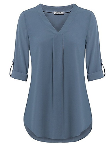 billige Dametopper-V-hals Skjorte Dame - Ensfarget Grønn